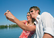 picture boating vacation camera couple recreation stock photography
