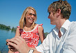 boating vacation happy outdoor happiness couple stock photo