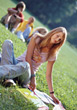 students sitting homework teen outdoor college stock photography