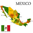 Mexico, United States Of. Administrative Map And Flag