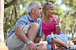 Drinking Mid Age Couple Having A Picnic In A Pine Forest stock photography