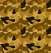 Military Camouflage Seamless Pattern Yellow Brown Colors - Vector stock illustration
