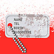 Military Dog Tag Stained With Blood On Red Background. Silver Identity Tag stock illustration