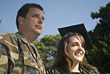 Military Father & Daughter at Graduation Celebration stock photo