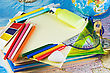 Miscellaneous Office Supplies For School stock photo
