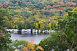 The Mississippi River And Parked Boats During The Autumn Season stock photo