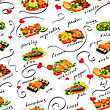 Mix Of Different Food, Decorated Sketches. Seamless Background stock photo