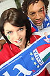 Mixed Race Couple Of Italian Soccer Supporters stock photo