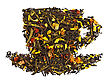 Mixture Of Black And Green Dry Tea With Petals Of Sunflower, Rose, Fruit Of Rose Hips And Papaya In Form Cup Isolated