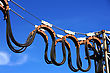 Voltage Mobile Power Lines On The Blue Sky stock image