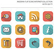Modern Flat Icons Vector Collection With Long Shadow Effect In Stylish Colors Of Internet Items. Isolated On White Background