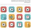 Modern Flat Icons Vector Collection With Long Shadow Effect In Stylish Colors Of Music Items. Isolated On White Background