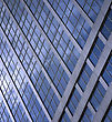 Modern Glass Building As Blue Background stock photography