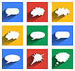 Modern Speech Bubbles Set In Flat Design With Long Shadows For Web, Mobile Applications Etc. Vector Eps10 Illustration
