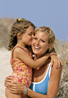 Mom and Daughter at the Beach stock photography