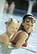 Mom and Daughter in Pool stock photo