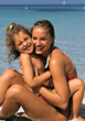 Mom and Daughter on Vacation stock photography