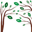 Money Trees. Business Concept With White Dollar Signs On The Green Tree Leaves