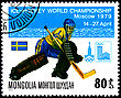 MONGOLIA - CIRCA 1979: A Postage Stamp Shows Ice Hockey World Championship In Moscow, Sweden, Circa 1979 stock photography