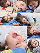 Montage Of Happy Little Boy At Home stock photo