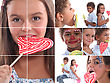 Montage Of Children With Candy stock photography