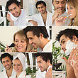 Montage Of A Couple In The Bathroom stock photography