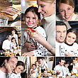 Montage Of Happy Family Having Breakfast