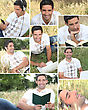 Montage Of A Man Relaxing At The Park stock photography