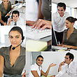 Montage Of Two Office Workers stock photography