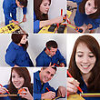Montage Of Two Plumbers Preparing To Cut Pipe stock photography