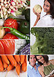 Mosaic Of Couple With Variety Of Vegetables stock photo