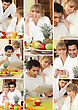 Mosaic Of Couple Having Breakfast Together stock photo