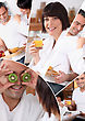 Mosaic Of Pictures Of A Couple Having Breakfast stock photography