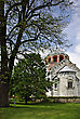 Most Famous Serbian Monastery With Beautifull Park And Flowers At Sunny Summer Day With Clear Blue Sky. stock photography