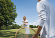 Families Lifestyle Mother and Child Playing Tennis stock image