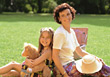 Mother and Daughter Having a Picnic stock photography