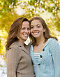 Mother's Day Mother and Daughter in the Fall stock photo