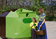 Mother and Daughter Recycling stock photo