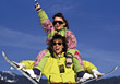 Mother and Daughter Skiing stock photo