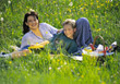 Mother and Son Having a Picnic stock image