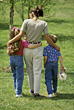 Families Lifestyle Mother Walking with Kids stock photography