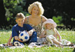 Mother with Kids in the Park stock photography