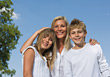 Mother with Kids Smiling Happy stock photo