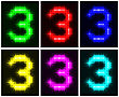 Motley Set A Glowing Symbol Of The Number 3 On Black Background For Your Design.