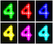Motley Set A Glowing Symbol Of The Number 4 On Black Background For Your Design.