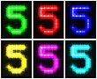 Motley Set A Glowing Symbol Of The Number 5 On Black Background For Your Design.