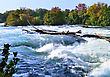 Mountain River Rapids In Autumn stock image