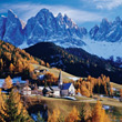 Mountain Village, Dolomites, Italy stock image