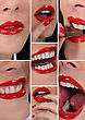 Collage Mouth Of Woman stock photo