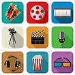 Movie And Cinema Icon Set For The Apps Against White Background